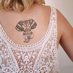 Who doesn't love elephants? How about a temporary tattoo of an… Pretty Tattoos, Love Tattoos, Beautiful Tattoos, Body Art Tattoos, Small Tattoos, Girl Tattoos, Cross Tattoos, Tatoos, Piercings