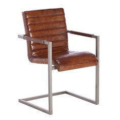 Titus Chair, Vintage Leather Dining Chair, Light Brown | Dining Chairs | Dining Room