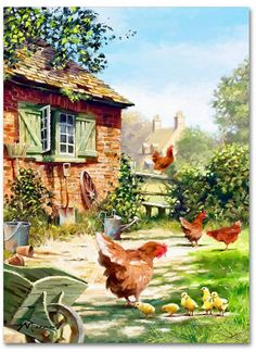 Crafts Farmhouse Trademark Global The Macneil Studio 'Chicken And Hens' Canvas Art - 18 x 24 Farm Paintings, Landscape Paintings, Country Art, Country Life, Artist Canvas, Canvas Art, Photo Vintage, Cottage Art, Farm Art