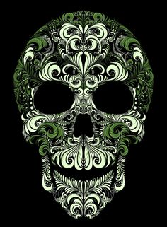 """pattern based on traditional Russian painting """"Khokhloma."""" the traditional pattern. Sugar Skull Artwork, Sugar Skull Tattoos, Sugar Skulls, Day Of The Dead Art, Skull Pictures, Skeleton Art, Russian Painting, Skull Wallpaper, Chicano Art"""