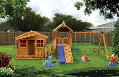 Chipmonk Kindy Gym - Comes with a swing set, slide, rockwall, periscope, telescope, handles, a great fort for the kids to play in and a 2400 x 2400 cubby house.  www.cubbykraft.com