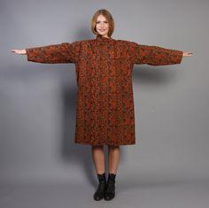 80s ETHNIC Wool COAT / Tribal Print Oversized Avant Garde JACKET on Etsy, $1,266.67