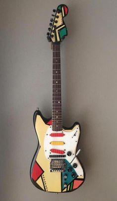 The Twang Bar King Fender Mustang painted by Mike Getz in 1983 owned by Adrian Belew Fender Mustang Guitar, Fender Acoustic Guitar, Fender Electric Guitar, Cool Electric Guitars, Bass Guitars, Guitar Drawing, Guitar Painting, Guitar Art, Cool Guitar