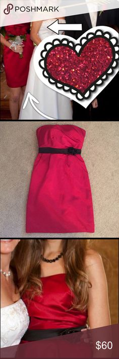 David's Bridal beautiful Red strapless dress😍 Obviously from this photo I wore it to my moms wedding so it would be perfect for weddings, prom, homecoming, or any other formal event! Has been dry cleaned and in PERFECT condition. The inside has B cup padding but they can be removed to fit whatever bust size to go along with a size 6. Runs smaller for a 6! I believe flowers can also be removed. Best part... POCKETS!!! 😍❤️ David's Bridal Dresses Wedding