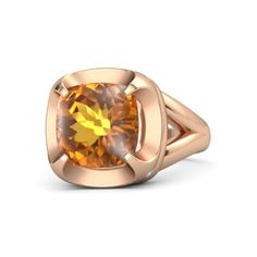 The D'Orsay Signature Cushion Polished Ring sdtyled in citrine in rose gold.