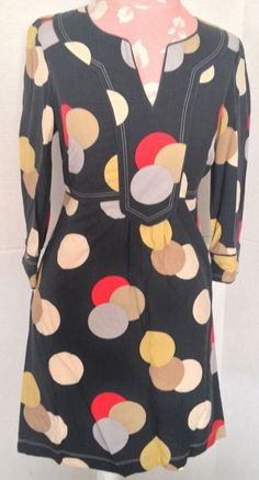 Boden Polka Dot Blue Red Yellow Viscose 3/4 Sleeve V Neck Tunic Mini Dress 2 R #Boden #Tunic #Casual