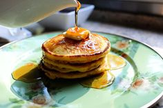 Corn meal pancakes from the Pioneer Woman--added blueberries to the batter and they are now the family's favorite!