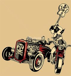 Vince Ray is a Kustom culture graphic rep, expertized in Graphic, retro illustrations Samba, Rockabilly Art, Illustration Art, Retro Illustrations, Chevy, Horror Comics, Lowbrow Art, Car Drawings, Pop Surrealism