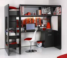 Meer dan 1000 idee n over tiener hoogslapers op pinterest zolderbedden camo slaapkamers en pb - Hoogslaper tiener met kantoor en opslag ...