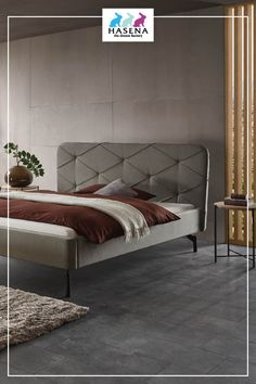 Hasena Dream-Line Bett mit Kopfteil Julia und Fusselement Tondo in Anthracit Line, Bed, Furniture, Home Decor, Decoration Home, Fishing Line, Stream Bed, Room Decor, Home Furnishings