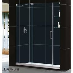 "Buy Bath Authority DreamLine Mirage Frameless Sliding Shower Door with Shelves and SlimLine Single Threshold Shower Base (30"" by 60"") at ModernBathroom.com. Get free shipping and factory-direct savings on Bath Authority DreamLine Mirage Frameless Sliding Shower Door with Shelves and SlimLine Single Threshold Shower Base (30"" by 60"")."