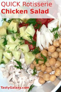 Why throw our leftover Rotisserie chicken, when you can make this amazing salad instead? Rotisserie chicken salad made with onions, tomatoes, cucumbers, avocado and chickpeas, a perfect weeknight dinner or school lunch #chicken #salad Rotisserie Chicken Salad, Leftover Rotisserie Chicken, Healthy Crockpot Recipes, Vegan Recipes Easy, Delicious Recipes, Keto Recipes, Brunch Recipes, Easy Dinner Recipes, Amazing Salad