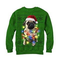 Lost Gods Ugly Christmas Sweater Pug Lights Womens Graphic Sweatshirt