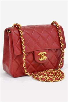 Chanel Red Quilted Leather Mini Shoulder Bag Gold 2e5ddb89261ea