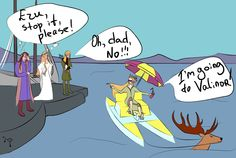[I do not think that the Valar will let him in.. xD] This is by far one of the best of the Elven Party King fan art. <3 Also, Thranduil knows how to sail in style ;D