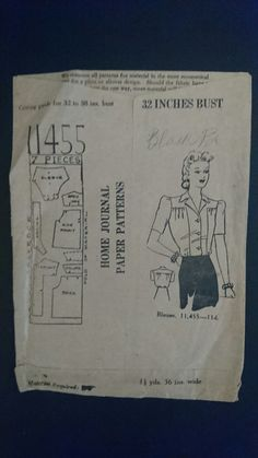 Australian Home Journal Blouse pattern 11455 by StarletPatterns