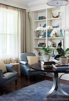 Blue And Taupe Form A Consistent Thread Throughout The First Floor Rooms Parlors