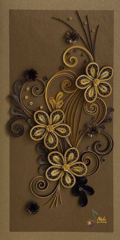 neli: Quilling flowers - brown and gold