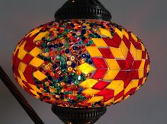 Yellow and Red Swan Neck Turkish Mosaic lamp with a vintage look metal base