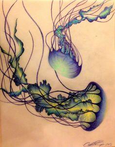 JELLYFISHPENCIL Jellyfish Tattoo, Jellyfish Art, Octopus Tattoos, Badass Tattoos, Cute Tattoos, Beautiful Tattoos, Tattoo You, Tatoo, Pencil Art