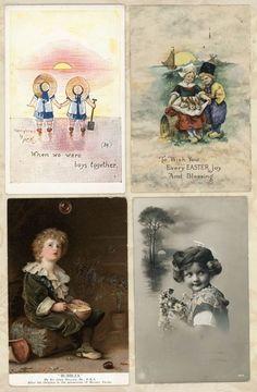 Lot 4 Cute Children Sunset Beach Bubble Boy Vtg Antique Postcards