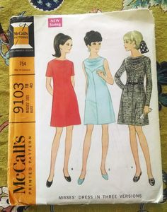 McCall's 9103 Misses Dress Pattern with Cowl Front Yoke , Size 18 Vintage 1967 $7.50