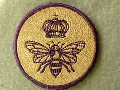 Queen Bee Mini on Cowhide Leather Iron on Patch by GerriTullis