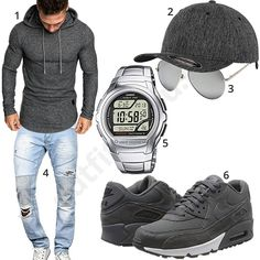 Graues Herrenoutfit mit Longsleeve, Cap und Nike's (m1048) #grau #uhr #hoodie #cap #brille #nike #outfit #style #herrenmode #männermode #fashion #menswear #herren #männer #mode #menstyle #mensfashion #menswear #inspiration #cloth #ootd #herrenoutfit #männeroutfit