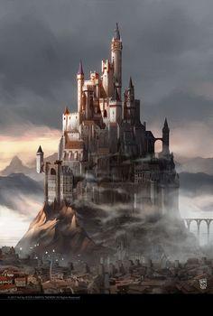 Custodio by Jesus Campos Jimenez. Fantasy City, Fantasy Castle, Fantasy Places, Fantasy Map, High Fantasy, Medieval Fantasy, Sci Fi Fantasy, Fantasy World, Fantasy Artwork