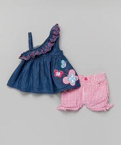 Look what I found on #zulily! Blue Asymmetrical Ruffle Top & Shorts Set - Infant #zulilyfinds