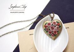 locket pendant necklace handmade flowers necklace by Joyloveclay