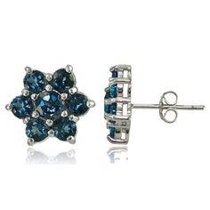 Glitzy Rocks Sterling Silver London Topaz Flower Stud Earrings