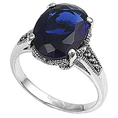 Sterling Silver Simulated Marcasite Cocktail Ring Blue Simulated Sapphire 925 14mm Size 5 (RNG20106-5) >>> You can get more details by clicking on the image. http://www.amazon.com/gp/product/B00EVA9LDM/?tag=jewelry3638-20&pgh=230916043238