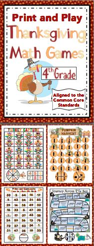 Thanksgiving Math: No Prep, Print and Play Games (4th Grade) - Enjoy the days before the break with your class. These no prep games are perfect for centers, small groups, or whole class fun! Also available for 3rd grade and 5th grade. $