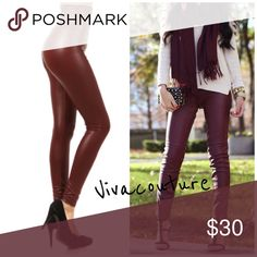 Restocked Burgundy High Waist Tummy Tuck Leggings Best selling style in wine burgundy high waist vegan faux leather leggings with good tummy control . NWOT . Small 2-4-6 Med 8-10 large 12-14 . Great amount of stretch and also available in black in my boutique . Vivacouture Pants Leggings