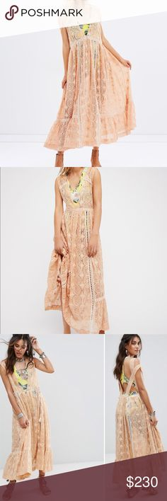 Free People Peach Shine On Midi Dress Free People Peach Shine On Midi Dress. Semi-sheer lace dress, contrast tropical printed attached slip. Cold-shoulder design, open back. Designed to be a relaxed fit. Beautiful statement piece. Brand new with tags. Retail Value $238. Free People Dresses