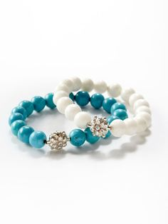 Turquoise & White Coral Stretch Bracelets