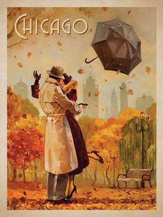 Windy City Kiss - This series of romantic travel art is made from original oil paintings by artist Kai Carpenter. Styled in an Art Deco flair, this adventurous scene is sure to bring a smile and maybe even a smooch to any classic poster art lover!