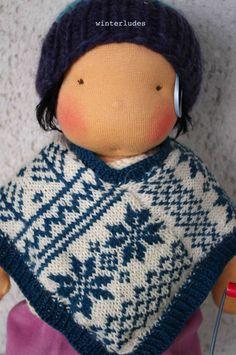 pdf pattern: nordic jarquard poncho for 15-17 waldorf doll via Etsy