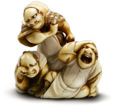 Otoman ivory netsuke  Kyushu, 19th century  weepy, rowdy and rough  1 3/8 by 1 1/4 in., 3.5 by 3.1 cm  an ivory study of the three types of drunks; at right sits a sorrowful man wipes his eyes; at left a jovial man throws back his head in a wide-mouthed laugh, standing behind them, a scowling man pushes up his sleeve from his clenched fist as if preparing for a fight; stained to highlight details, signed Otoman
