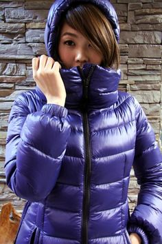 Zipped Into Purple Puffer Nylons, Cool Jackets, Jackets For Women, Winter Jackets, Down Puffer Coat, Puffer Coats, Women's Puffer, Down Suit, Puffy Jacket