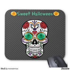 Skull Mouse Pad #Skull #Holiday #Halloween #Flower #Rose #Fashion #MousePad