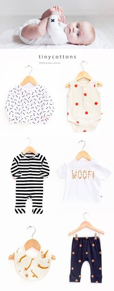 Cute and simple design baby clothing made of 100% Pima cotton by TINY COTTONS