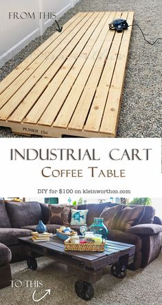 Industrial Cart Coffee Table on kleinworthco.com