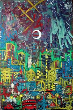 Abstract city at night, oil on board