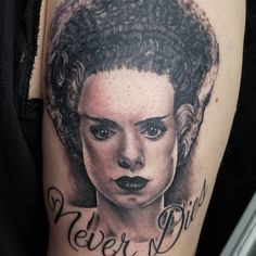 de9fe4ac4835d Bride of Frankenstein tattoo done by Drew Harris at Double Deez Tattoos in  West Chester