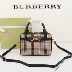 Burberry Small 1983 Check Link Bowling Bag In Black Handbags On Sale, Replica Handbags, Burberry Outlet Online, Cheap Burberry, Look Fashion, Fashion Tips, Bowling Bags, Designing Women, Calf Leather