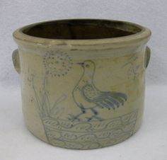 Small folk art stoneware butter crock with ears