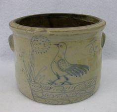 Small Folk Art Stoneware Eared Butter Crock