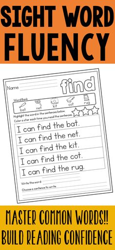 Help students build reading fluency and confidence by practicing sight word sentences! The sentences are predictable, and picture clues are provided to allow students to successfully read each sentence. This helps students build familiarity with each sight word and begin automaticity when presented with the word in context. Students are asked to read the sight word, highlight it, write it, and read it in context. Sight Word Sentences, Sight Words, Reading Fluency, Highlight, Searching, Confidence, Kindergarten, Students, How To Remove